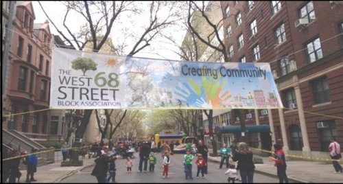 Our West 68th Street New Block Banner Proudly Displayed at the Spring Party (designed by David and Michele Harris)